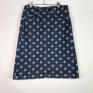 Boden Denim Polka Dot Skirt Size: 6